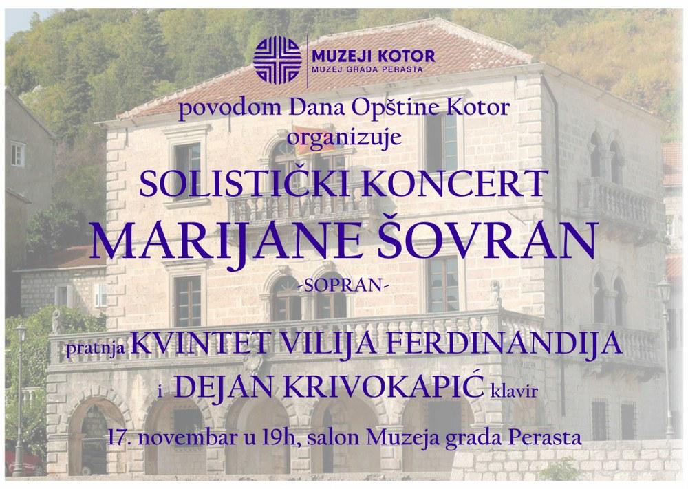 Sopranistkinja Marijana Šovran nastupa u Muzeju grada Perasta