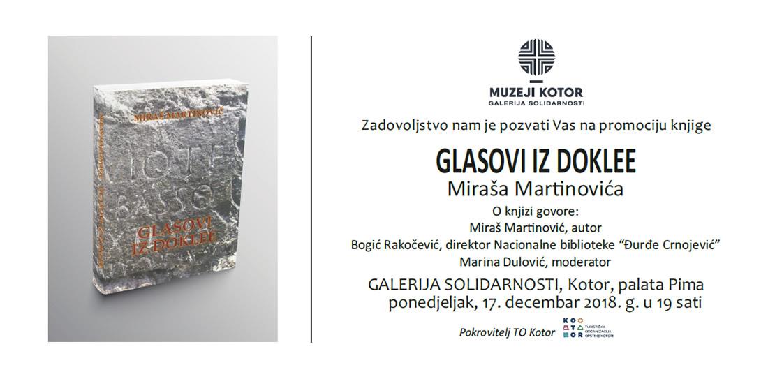 Najava predstavljanja knjige Miraša Martinovića u Kotoru