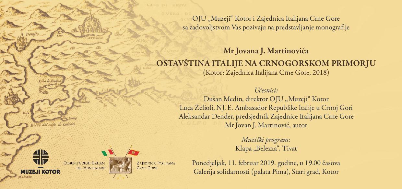 """Predstavljanje monografije """"Ostavština Italije na Crnogorskom primorju"""""""