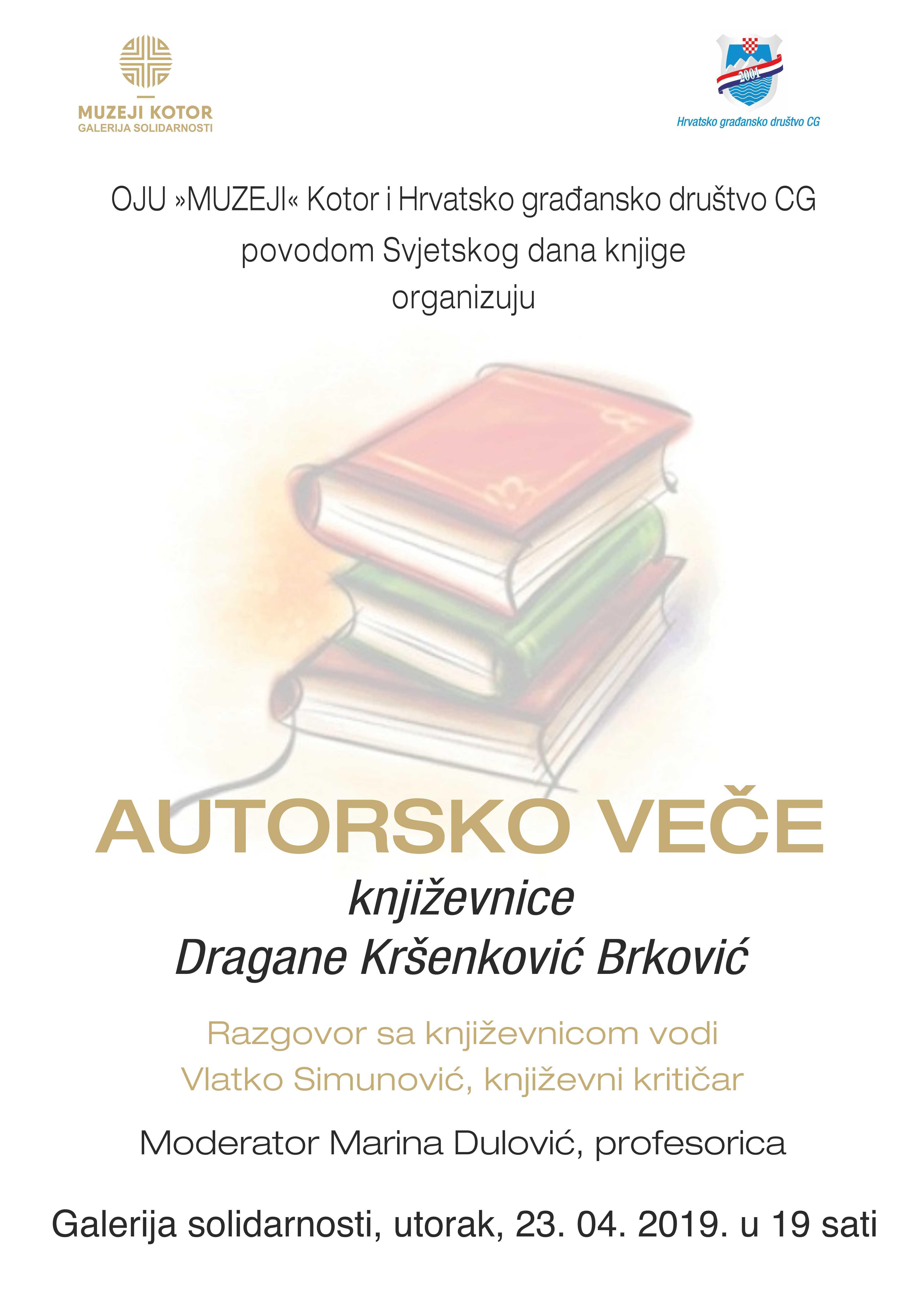 Autorsko veče Dragane Kršenković Brković u Galeriji solidarnosti