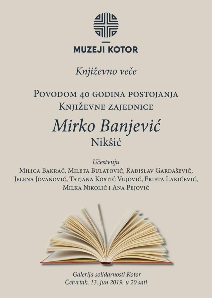 """Književno veče Književne zajednice """"MIRKO BANJEVIĆ"""" iz Nikšića"""