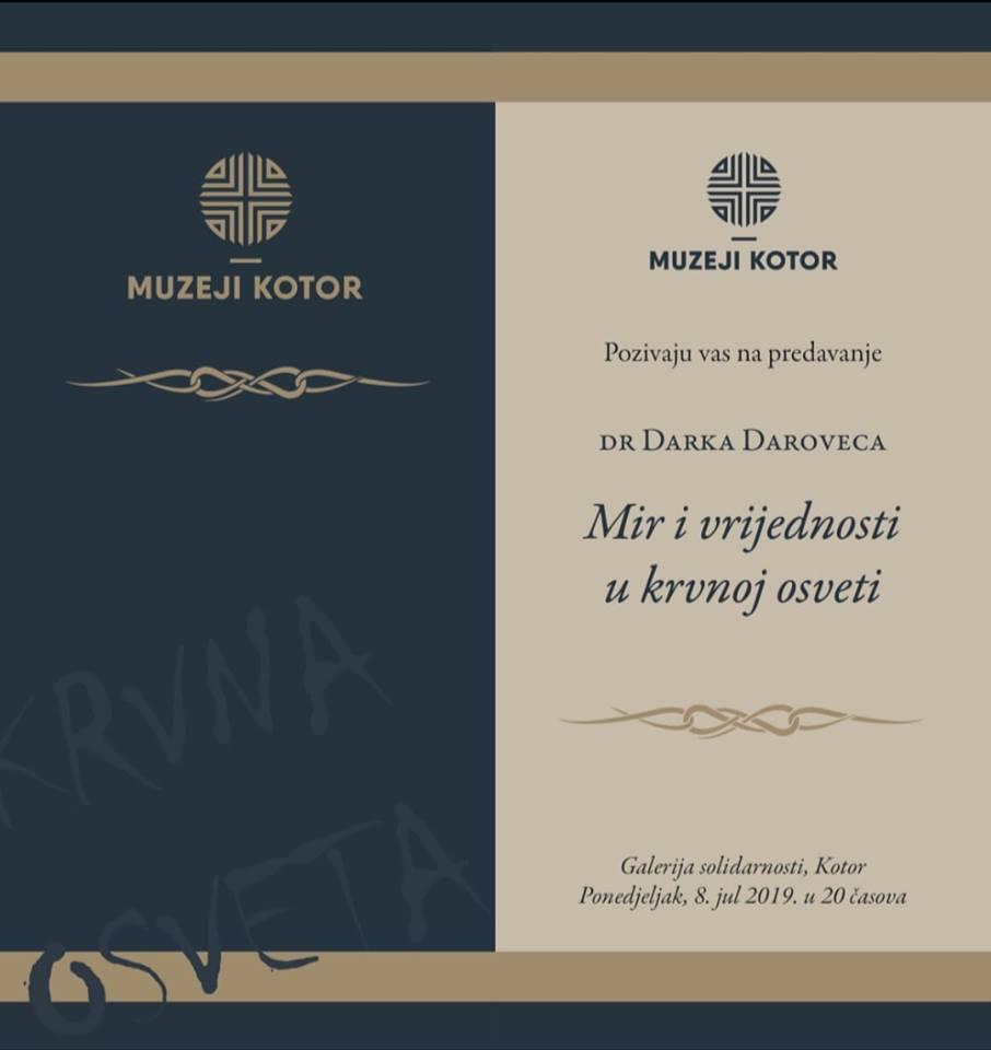 """Predavanje prof. dr Darka Daroveca - """"Mir i vrijednosti u krvnoj osveti"""""""