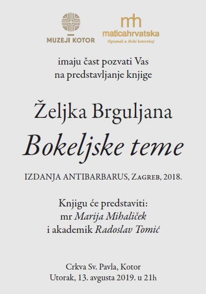 """Najava promocije knjige """"Bokeljske teme"""" Željka Brguljana"""