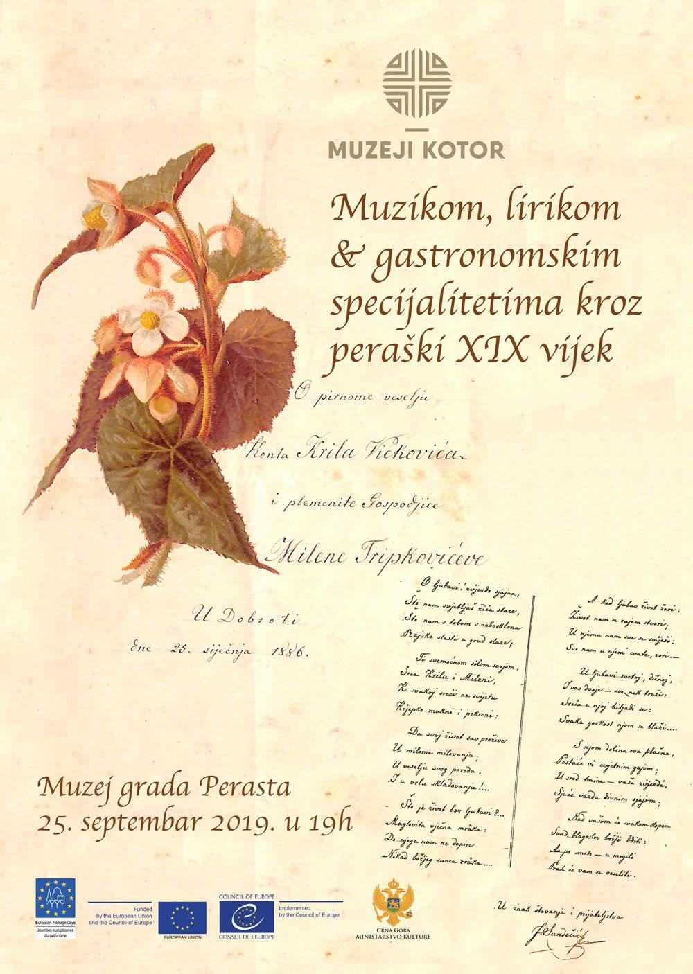 """Najava multimedijalnog događaja """"Muzikom, lirikom i gastronomskim specijalitetima kroz peraški XIX vijek"""""""